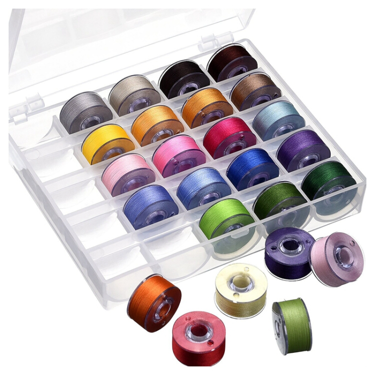 Sewing Machine Bobbins Case 100-Piece Bobbins 4 Boxes with 2 Measuring Tapes Clear Plastic Thread Storage Case with Multicolored Bobbins for Home and Craft Supplies