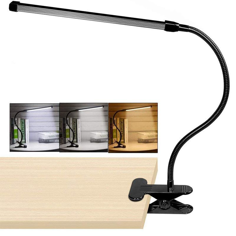 10W LED Flexible Clip Lamp Bed Desk Table Eye-Care Touch Light 3 Level Dimmable