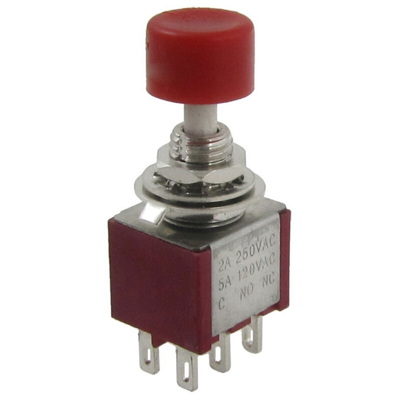 5 Pcs AC 120V 5A 250V 2A Off//On//Off DPDT Non Locking Push Button Switch