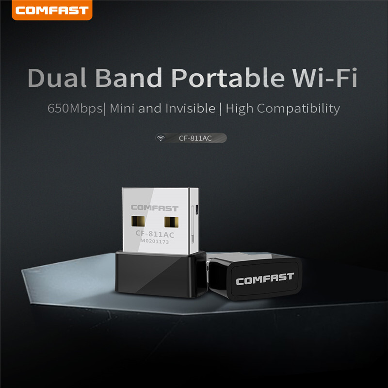 Comfast Mini 600Mbps Dual Band 2.4//5G USB Wireless WiFi Network Adapter 802.11AC