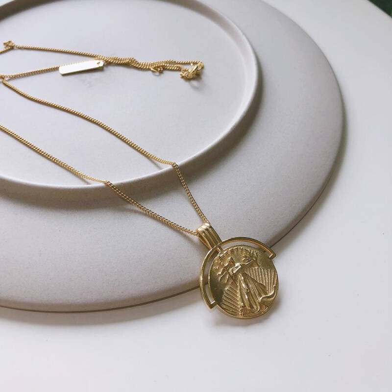 18k Gold Plated Authentic 925 Sterling Silver Figure Portrait Pendant Coin Necklaces Tlx482