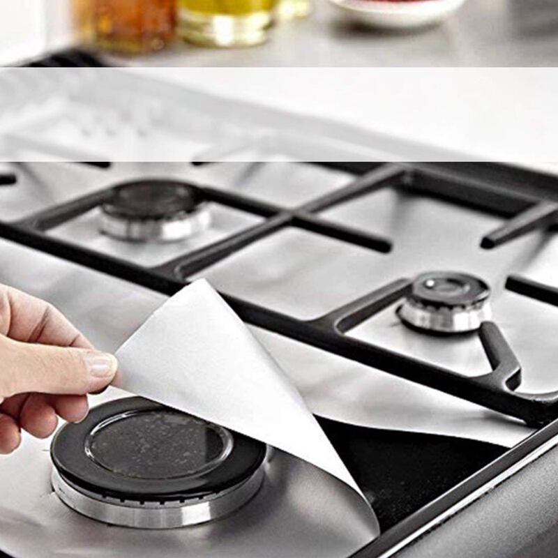 6 Pc Reusable Gas Range Stove Top Burner Protector Liner Cover Nonstick Cleaning