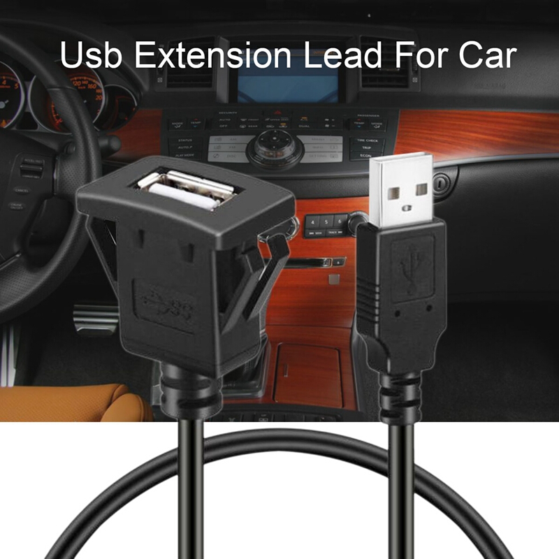 1m//2m Car Dash Board Mount USB 2.0 Male To Female Socket Panel Extension Cable