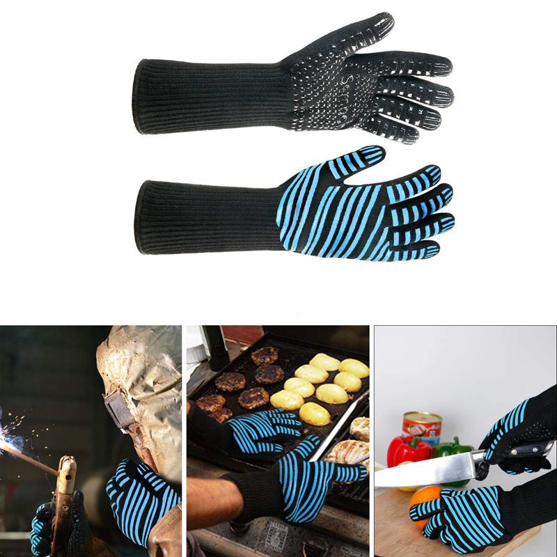 BBQ Oven Gloves Cooking Mitts Kitchen Oven Mitts Resistant Gloves With Silicone