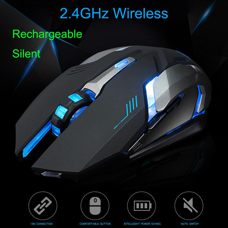 2.4GHz Wireless 1600dpi Game Mouse Rechargeable Silent LED USB Optical Ergonomic