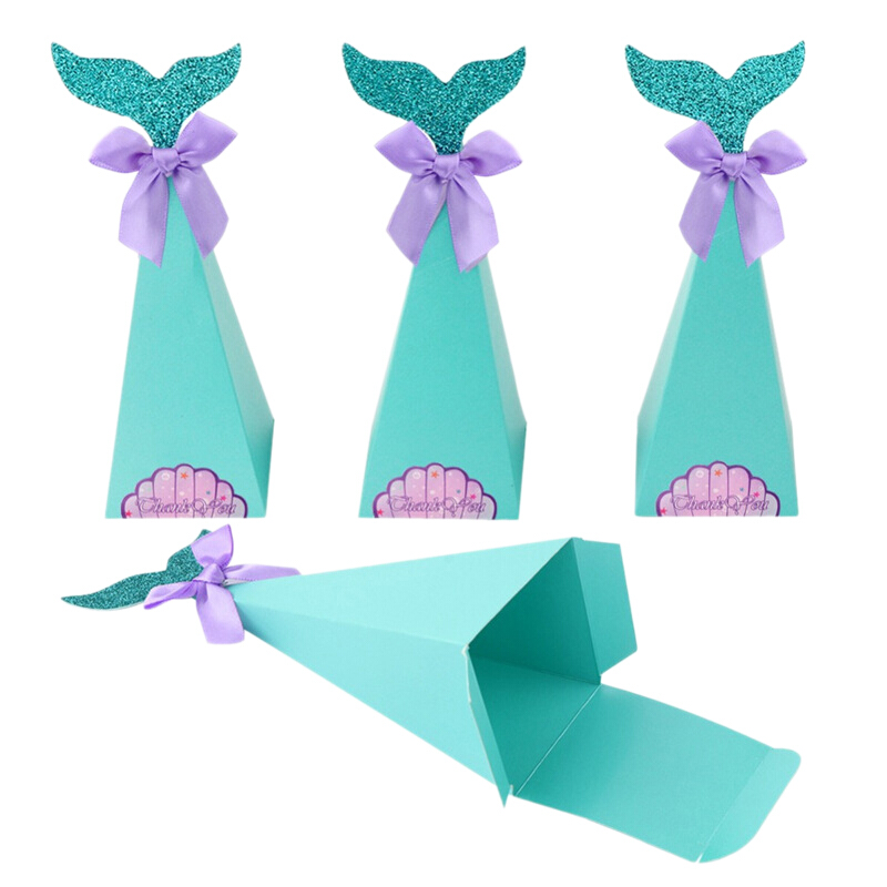 50pcs Paper Bag Turquoise  Flower Pattern For Biscuit Birthday Party Decoration