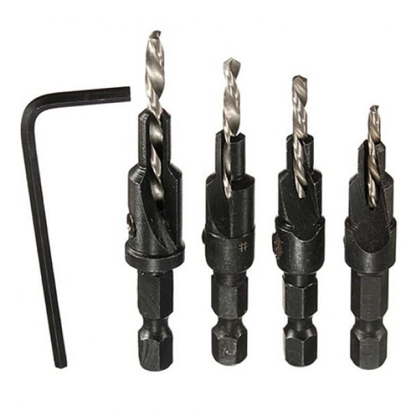 7 Piece Countersink Drill Bit Set with Quick-Change Hex Shank Adapters