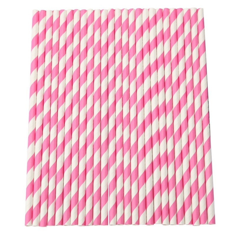 Pack of 25pcs Pink Paper Straws Birthday Wedding Party Drinking Straw