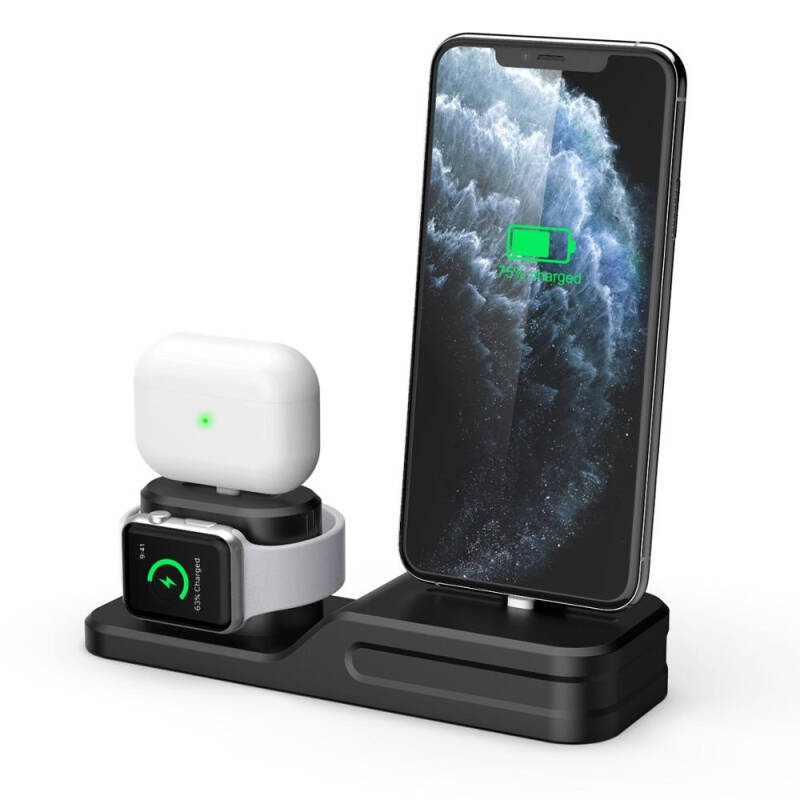 3 In 1 Charging Dock Holder For Iphone 11/11 Pro Iphone Xs Silicone Charging Stand Station For Apple Watch Airpods/airpods Pro