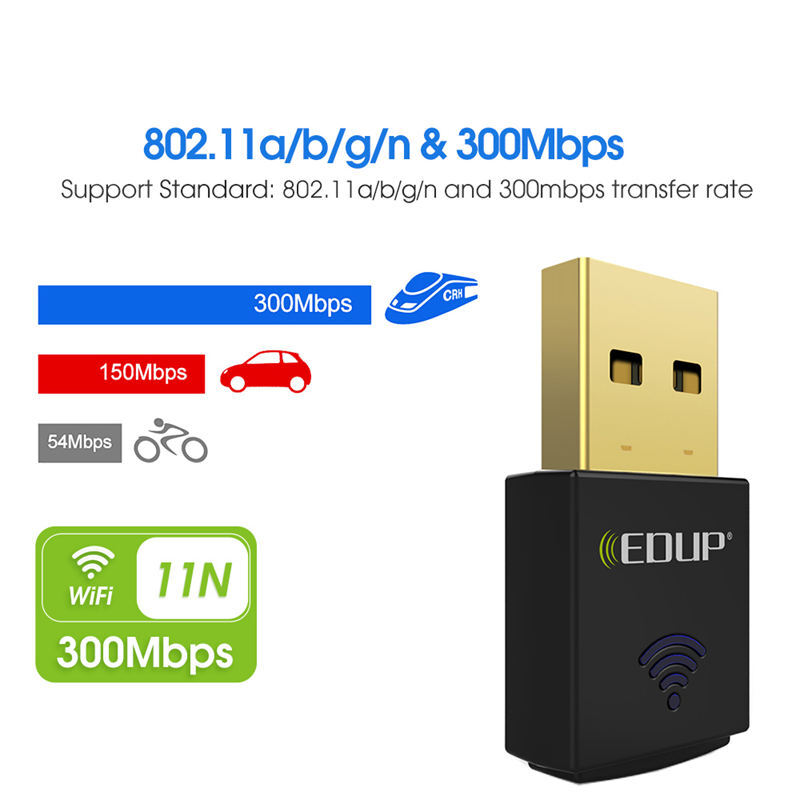 Mini 300Mbps USB WiFi Wireless Adapter Dongle LAN Card 802.11n//g//b WPS Function