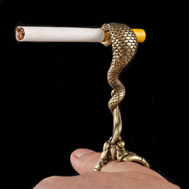 Classic Snake Smoking Cigarette Stand Clamp Clip Copper Snake Women Smoking Ring Holder Hands Free