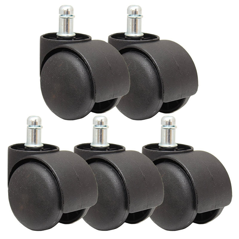 """Set of 5 3/"""" Inch Universal Office Chair Caster Wheels Rollerblade Style Rollers"""