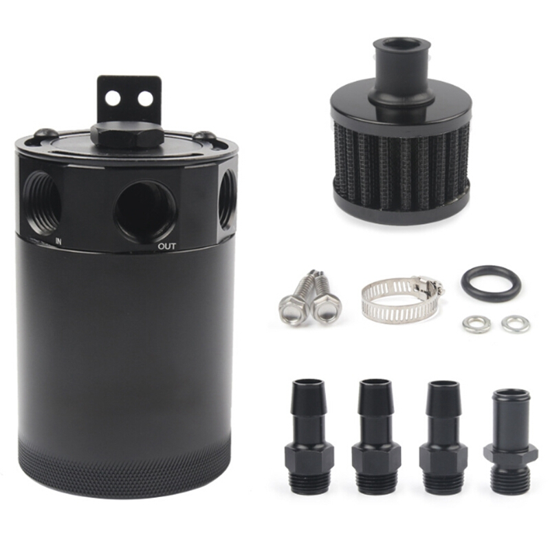 Oil Catch Can Tank Reservoir 3-Port With Breather Filter Drain Valve Universal