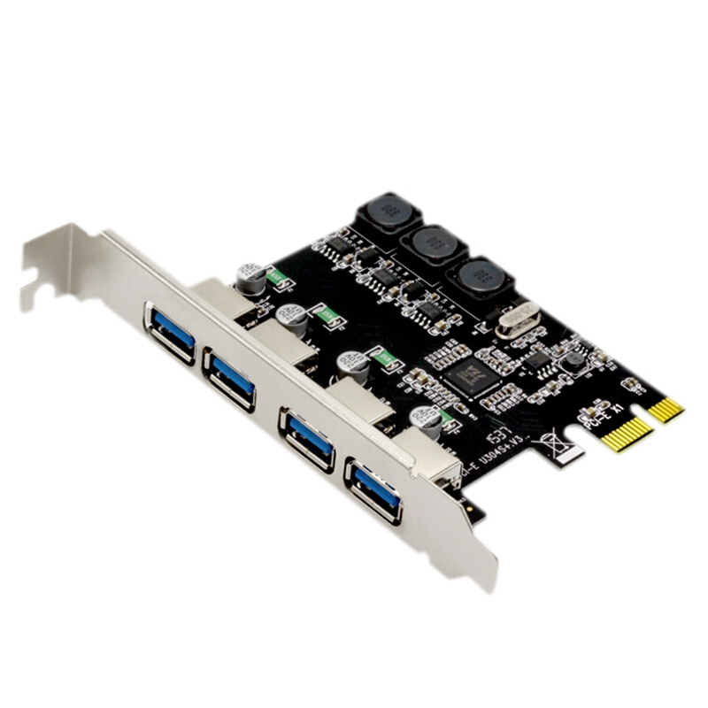 New 4 Port PCI-E To USB 3.0 Riser Expansion Card Adapter 5Gbps High Speed