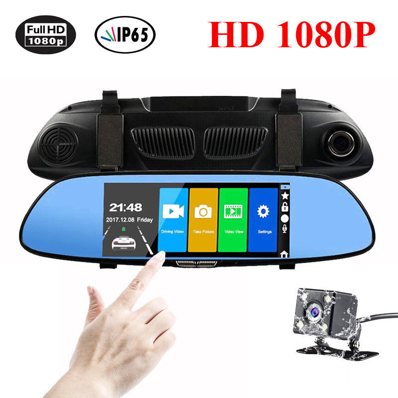 HD 1080P Dual Lens Vehicle Rearview Mirror Camera Recorder Car DVR Dash Cam