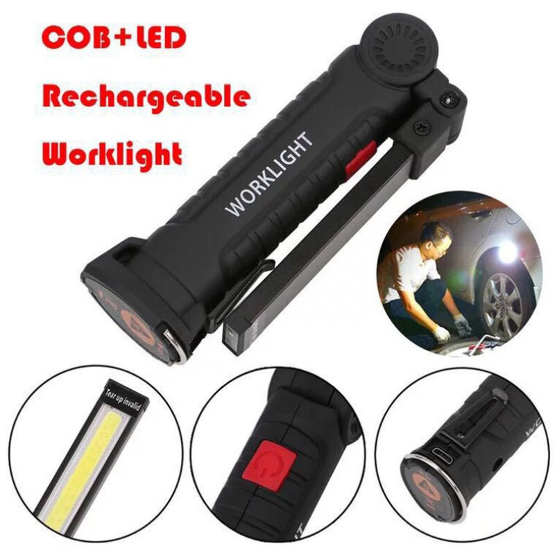 Rechargeable USB COB LED Work Light Flexible Magnetic Inspection Lamp Hand Torch