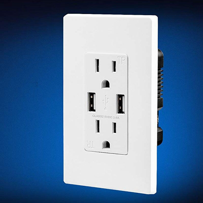 Outlet Home Switch Dual USB Wall Charger Socket US Plug Duplex Receptacle